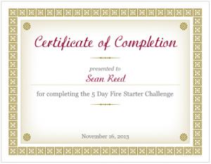 Sean Reed - Fire Starter Challenge Graduate
